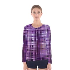 Purple Wave Abstract Background Shades Of Purple Tightly Woven Women s Long Sleeve Tee