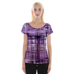 Purple Wave Abstract Background Shades Of Purple Tightly Woven Women s Cap Sleeve Top