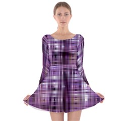 Purple Wave Abstract Background Shades Of Purple Tightly Woven Long Sleeve Skater Dress