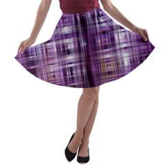 Purple Wave Abstract Background Shades Of Purple Tightly Woven A-line Skater Skirt
