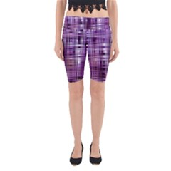 Purple Wave Abstract Background Shades Of Purple Tightly Woven Yoga Cropped Leggings