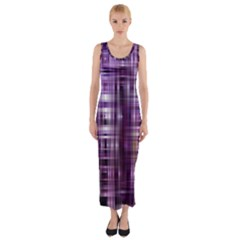 Purple Wave Abstract Background Shades Of Purple Tightly Woven Fitted Maxi Dress
