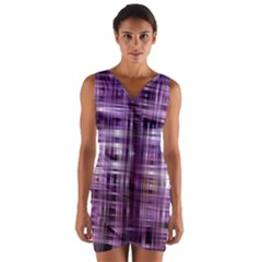 Purple Wave Abstract Background Shades Of Purple Tightly Woven Wrap Front Bodycon Dress