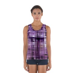 Purple Wave Abstract Background Shades Of Purple Tightly Woven Women s Sport Tank Top