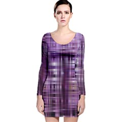 Purple Wave Abstract Background Shades Of Purple Tightly Woven Long Sleeve Velvet Bodycon Dress