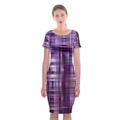 Purple Wave Abstract Background Shades Of Purple Tightly Woven Classic Short Sleeve Midi Dress
