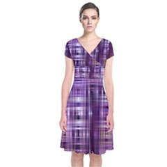 Purple Wave Abstract Background Shades Of Purple Tightly Woven Short Sleeve Front Wrap Dress