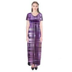 Purple Wave Abstract Background Shades Of Purple Tightly Woven Short Sleeve Maxi Dress