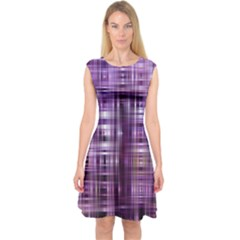 Purple Wave Abstract Background Shades Of Purple Tightly Woven Capsleeve Midi Dress