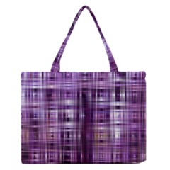Purple Wave Abstract Background Shades Of Purple Tightly Woven Medium Zipper Tote Bag
