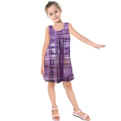 Purple Wave Abstract Background Shades Of Purple Tightly Woven Kids  Sleeveless Dress
