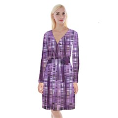 Purple Wave Abstract Background Shades Of Purple Tightly Woven Long Sleeve Velvet Front Wrap Dress