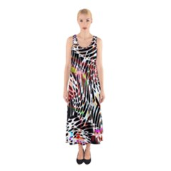 Abstract Composition Digital Processing Sleeveless Maxi Dress