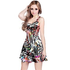 Abstract Composition Digital Processing Reversible Sleeveless Dress