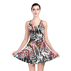Abstract Composition Digital Processing Reversible Skater Dress