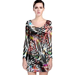 Abstract Composition Digital Processing Long Sleeve Bodycon Dress