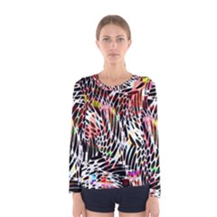 Abstract Composition Digital Processing Women s Long Sleeve Tee