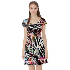 Abstract Composition Digital Processing Short Sleeve Skater Dress