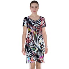 Abstract Composition Digital Processing Short Sleeve Nightdress