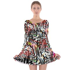 Abstract Composition Digital Processing Long Sleeve Skater Dress