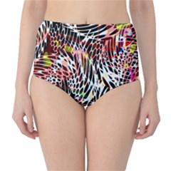 Abstract Composition Digital Processing High Waist Bikini Bottoms