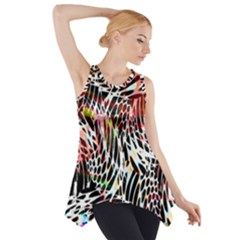 Abstract Composition Digital Processing Side Drop Tank Tunic