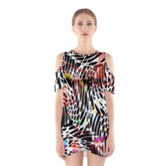 Abstract Composition Digital Processing Shoulder Cutout One Piece