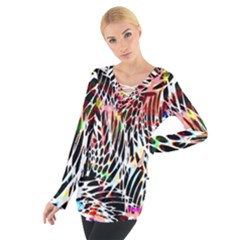 Abstract Composition Digital Processing Women s Tie Up Tee