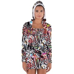 Abstract Composition Digital Processing Women s Long Sleeve Hooded T Shirt