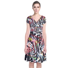 Abstract Composition Digital Processing Short Sleeve Front Wrap Dress