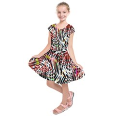 Abstract Composition Digital Processing Kids  Short Sleeve Dress