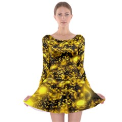 Vortex Glow Abstract Background Long Sleeve Skater Dress