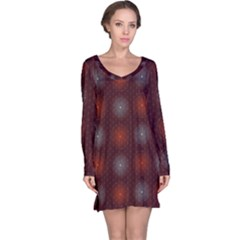 Abstract Dotted Pattern Elegant Background Long Sleeve Nightdress