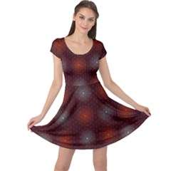 Abstract Dotted Pattern Elegant Background Cap Sleeve Dresses