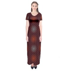 Abstract Dotted Pattern Elegant Background Short Sleeve Maxi Dress