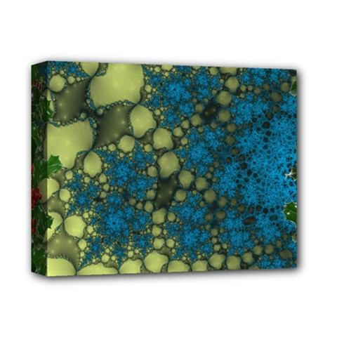 Holly Frame With Stone Fractal Background Deluxe Canvas 14  x 11