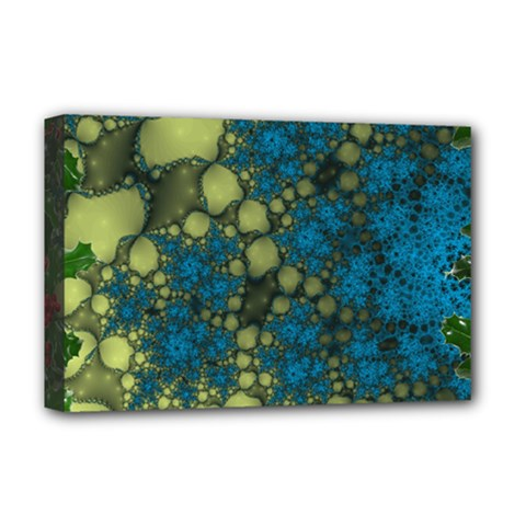 Holly Frame With Stone Fractal Background Deluxe Canvas 18  x 12