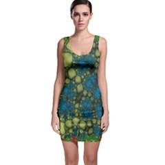Holly Frame With Stone Fractal Background Sleeveless Bodycon Dress