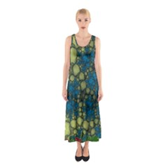 Holly Frame With Stone Fractal Background Sleeveless Maxi Dress