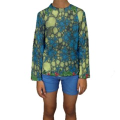 Holly Frame With Stone Fractal Background Kids  Long Sleeve Swimwear