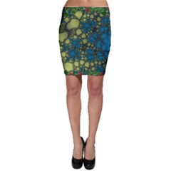 Holly Frame With Stone Fractal Background Bodycon Skirt