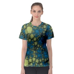 Holly Frame With Stone Fractal Background Women s Sport Mesh Tee