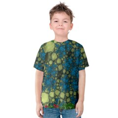 Holly Frame With Stone Fractal Background Kids  Cotton Tee