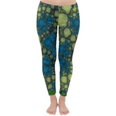 Holly Frame With Stone Fractal Background Classic Winter Leggings