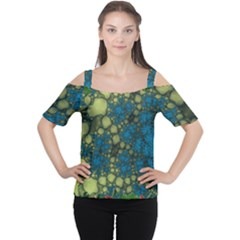 Holly Frame With Stone Fractal Background Women s Cutout Shoulder Tee