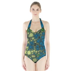 Holly Frame With Stone Fractal Background Halter Swimsuit