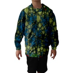 Holly Frame With Stone Fractal Background Hooded Wind Breaker (Kids)