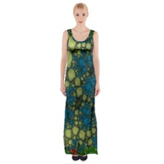 Holly Frame With Stone Fractal Background Maxi Thigh Split Dress