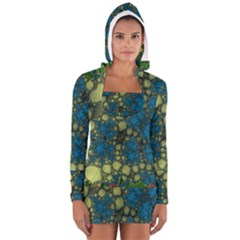 Holly Frame With Stone Fractal Background Women s Long Sleeve Hooded T Shirt