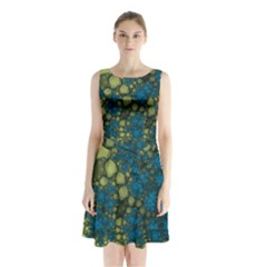 Holly Frame With Stone Fractal Background Sleeveless Chiffon Waist Tie Dress